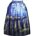 Charming Oil Painting Style Pattern 3D Painted Midi Skirt