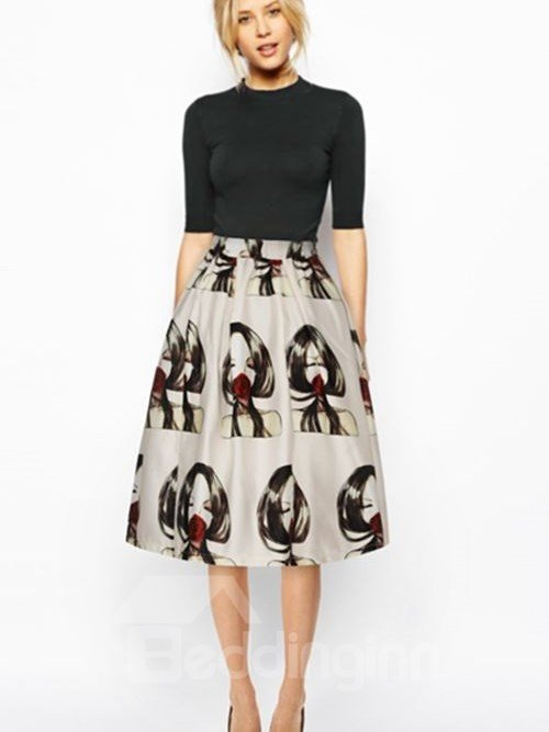 Popular Girl with Red Rose Pattern 3D Painted Midi Skirt