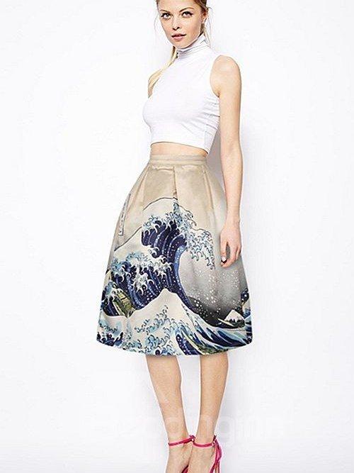 Attractive Surge Sea Waves Pattern 3D Painted Midi Skirt