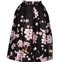 Stunning Peach Blossom Pattern Black Background 3D Painted Midi Skirt