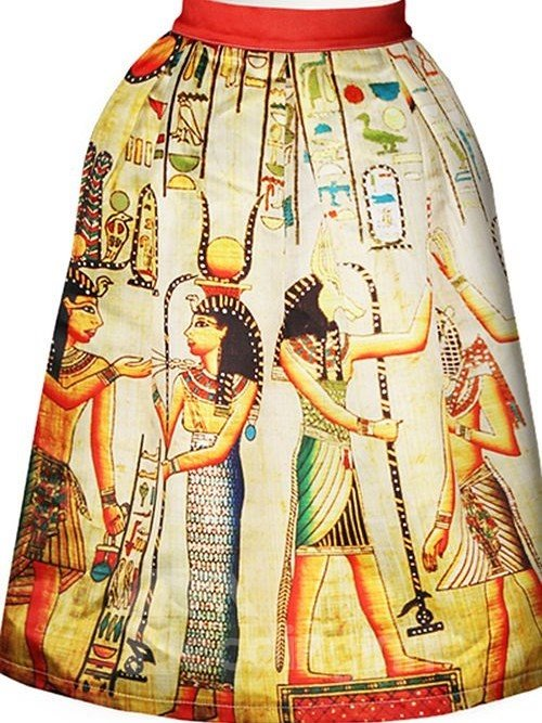 Vintage Ancient Egyptians Retro Pattern 3D Painted Midi Skirt