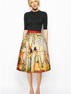 Vintage Ancient Egyptians Pattern 3D Painted Midi Skirt