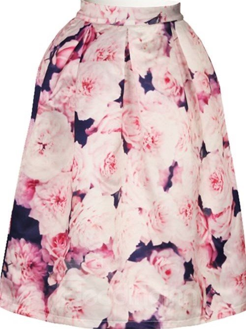 Lovely Pink Roses Pattern 3D Painted Midi Skirt