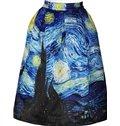 Fantastic Starry Night of Van Gogh Pattern 3D Painted Midi Skirt