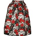 Unique Skull and Red Rose Pattern 3D Painted Midi Skirt