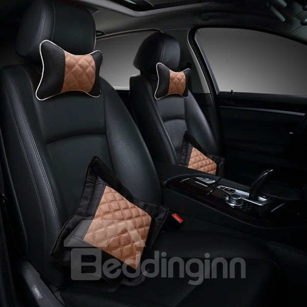 Fashional Floral Design With Grid Style Comfortable Car Pillow