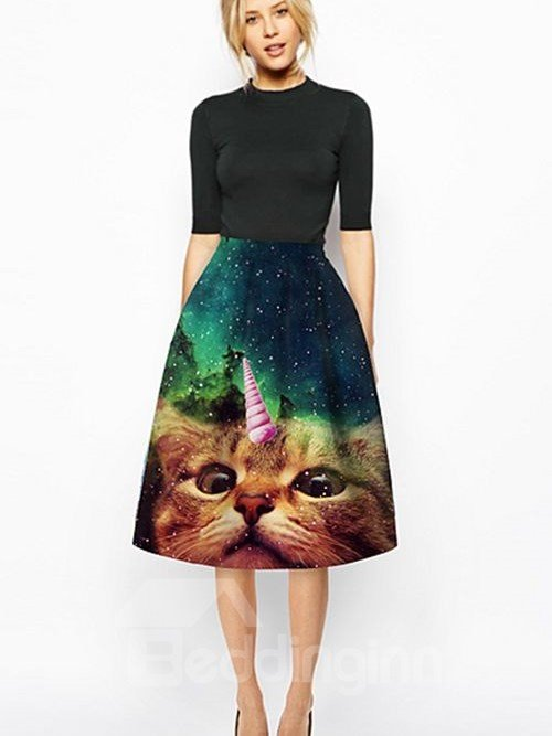Cute Cat Face Pattern 3D Painted Midi Skirt