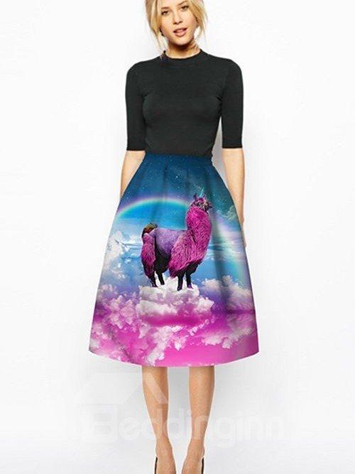 Popular Fushia Alpaca Pattern 3D Painted Midi Skirt