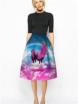 Popular Fushia Alpaca Pattern 3D Painted Midi Skirt