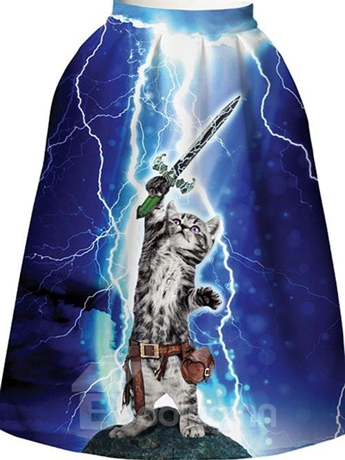 Pretty Cat Wave Sword Pattern Dark Blue Background 3D Painted Midi Skirt