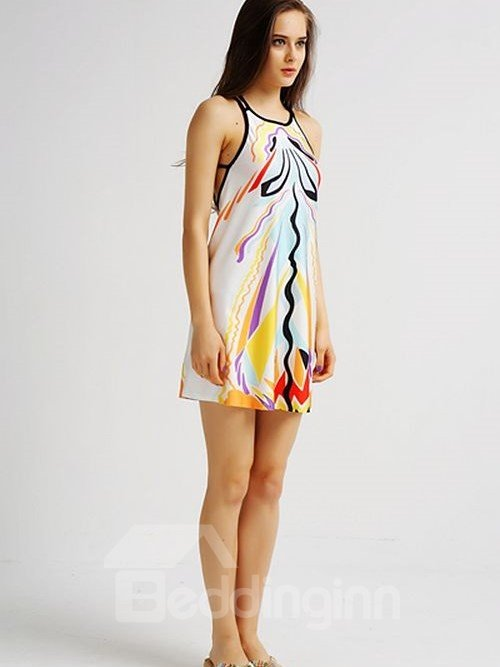 Fashion Loose Casual Back Crisscross Multicolor Pattern 3D Painted Swing Dress