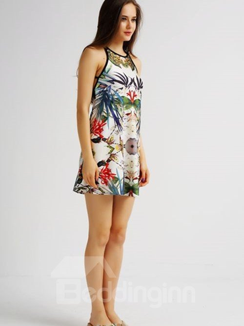 Gorgeous Loose Casual Back Crisscross Kinds of Flowers Pattern 3D Painted Swing Dress
