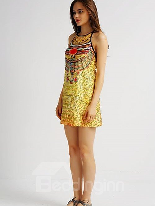 Bright Loose Casual Back Crisscross Novelty Pattern Yellow Background 3D Painted Swing Dress
