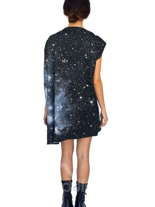 Elegant Loose Casual Stars in Universal Pattern 3D Painted Shift Dress