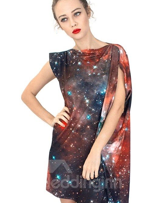Charming Loose Casual Galaxy Pattern 3D Painted Shift Dress