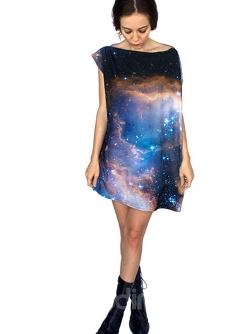 Stunning Loose Casual Starry Sky Pattern 3D Painted Shift Dress
