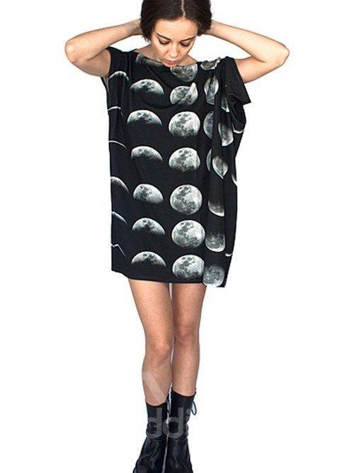 Unique Loose Casual Change Moon Pattern 3D Painted Shift Dress