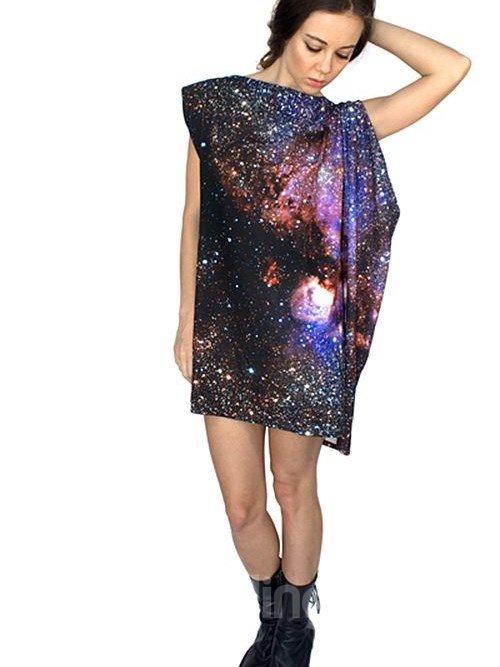 Fabulous Loose Casual Galaxy Pattern 3D Painted Shift Dress