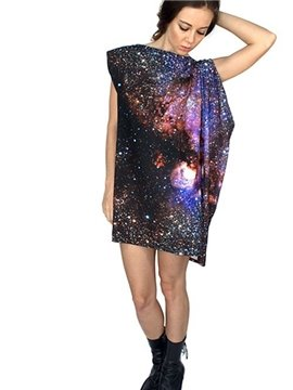 Fabulous Loose Casual Galaxy Pattern 3D Painted Shift Dress
