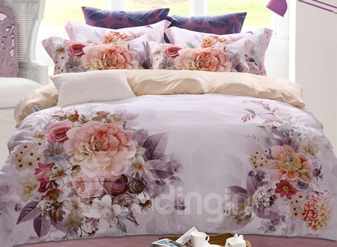 Noble Unique Peony Print 4-Piece Tencel Duvet Cover Sets