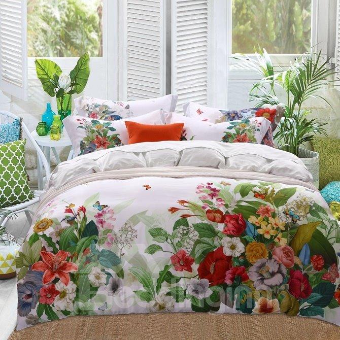 Gorgeous Jacobean Reactive Printing 4-Piece Tencel Duvet Cover Sets