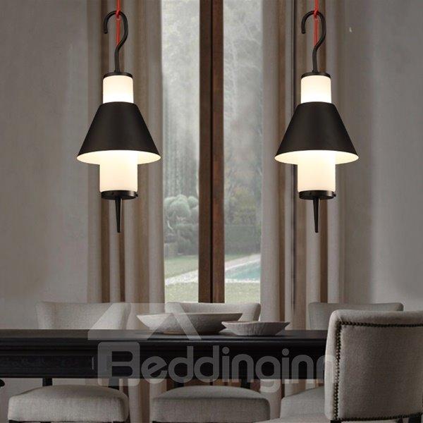 Black Iron Frame Hook Shape Decorative Pendant Light