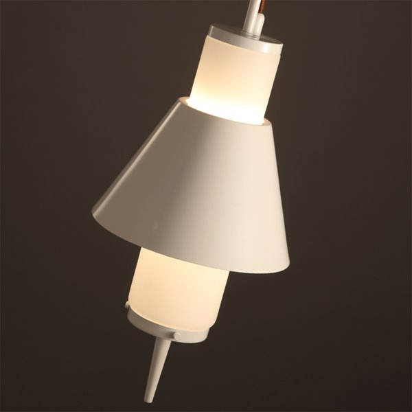 White Iron Frame Hook Shape Decorative Pendant Light