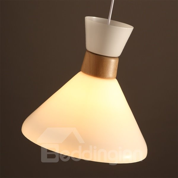 White Iron Frame Home Decorative Funnel Shape Pendant Light