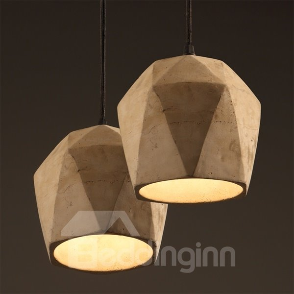 Simple Style Round Cement Decorative Pendant Light