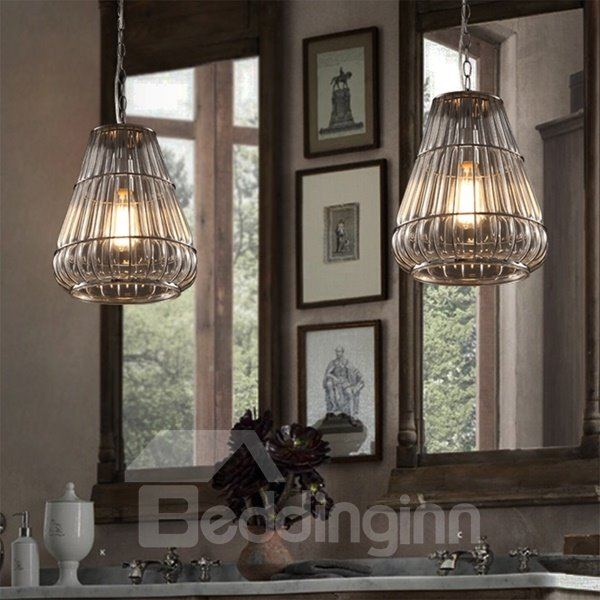 Transparent Iron Frame and Glass Decorative Pendant Light