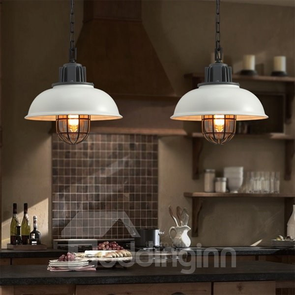 White Iron Framed Semicircle Shape Decorative Pendant Light