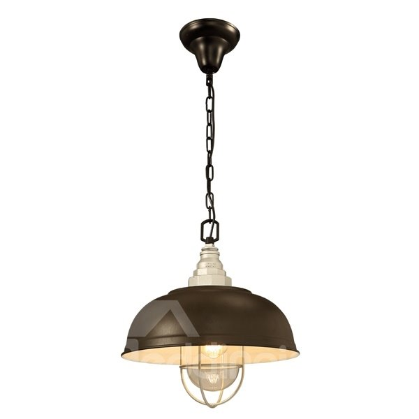 Gray Iron Framed Semicircle Shape Decorative Pendant Light