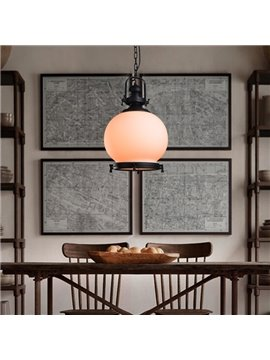 Decorative White Round Shape Iron and Glass Pendant Light
