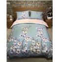 Pink Peach Blossom Print Blue 4-Piece Cotton Duvet Cover Sets