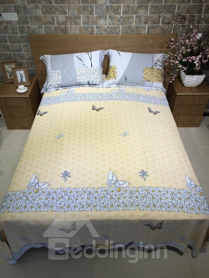 Unique Tree and Butterfly Print 4-Piece Cotton Duvet Cover Sets