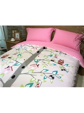 Lovely Owl and Tree Print 4-Piece Cotton Duvet Cover Sets