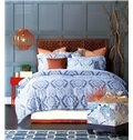 Classic Paisley Pattern Print Blue 4-Piece Cotton Duvet Cover Sets