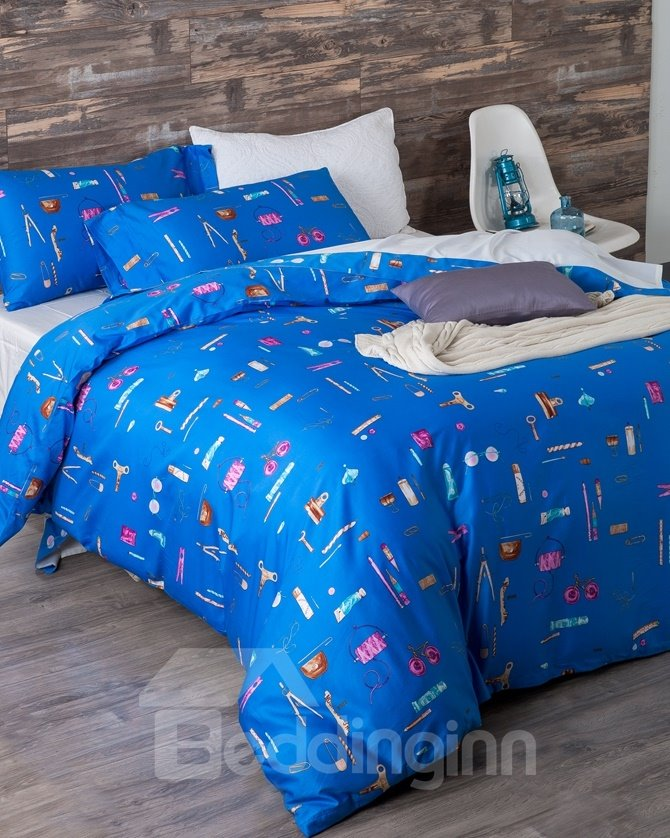 Bright Blue Stationery Print 4-Piece Cotton Duvet Cover Sets