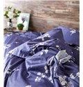 Splendid Noble Flowers Print Purple 4-Piece Duvet Cover Sets