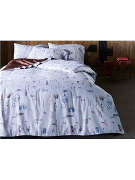 Creative Stationery Print 4-Piece Cotton Duvet Cover Sets