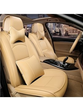 Simple Business Style Streamlined Curves Design Leather Custom Fit Car Seat Covers