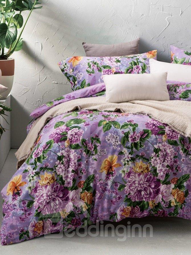 Purple Chrysanthemum and Lilac Print 4-Piece Cotton Duvet Cover Sets
