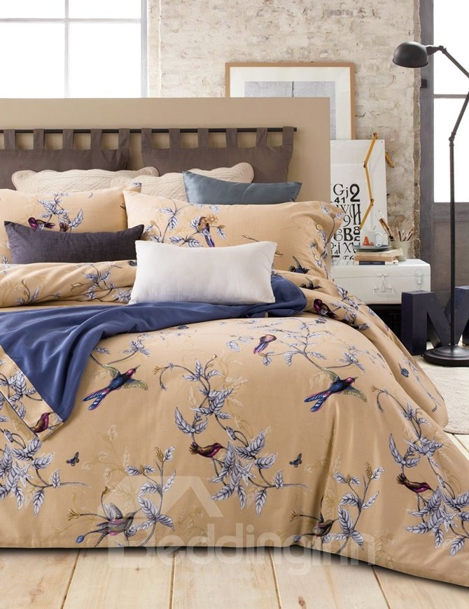 Lovely Swallow and Leaves Print 4-Piece Cotton Duvet Cover Sets