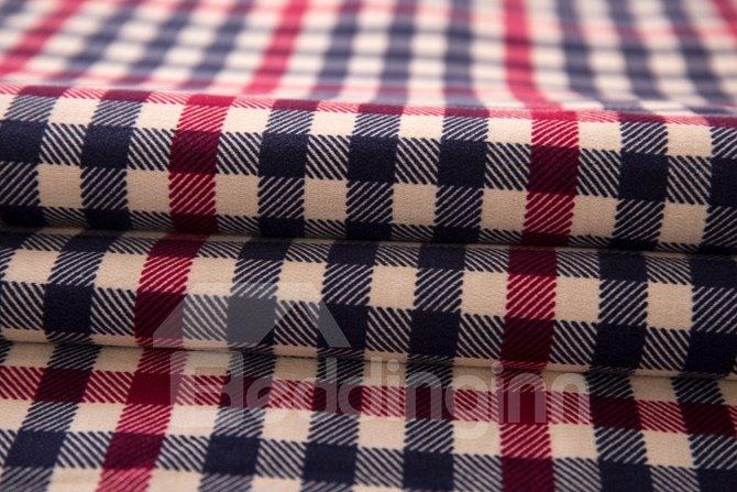 Comfortable Plaid Print 4-Piece Cotton Duvet Cover Sets