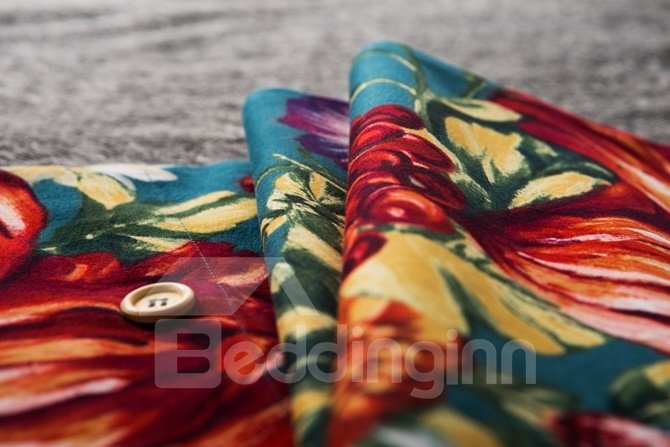 Bright Red Peony Print 4-Piece Cotton Duvet Cover Sets