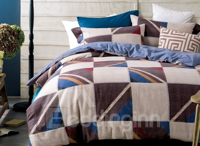 Modern Checker Pattern Print 4-Piece Cotton Duvet Cover Sets