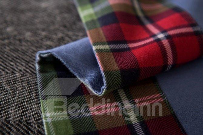 Classic Plaid Print 100% Cotton 4-Piece Duvet Cover Sets