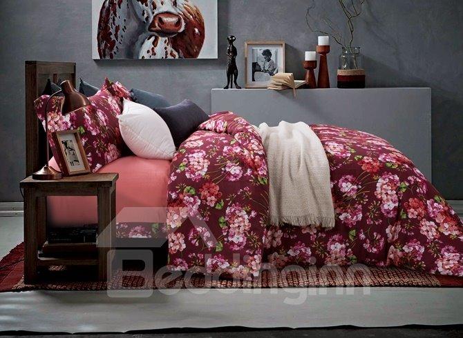 Unique Pink Lilac Print 4-Piece Cotton Duvet Cover Sets