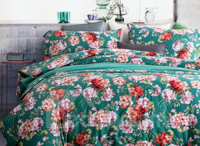 Excellent Peony Print Green 4-Piece Cotton Duvet Cover Sets