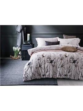 Birds Ink Painting 4-Piece Cotton Duvet Cover Sets